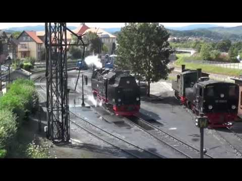 Narrow Gauge Railway Harz in Wernigerode with trains and depot
