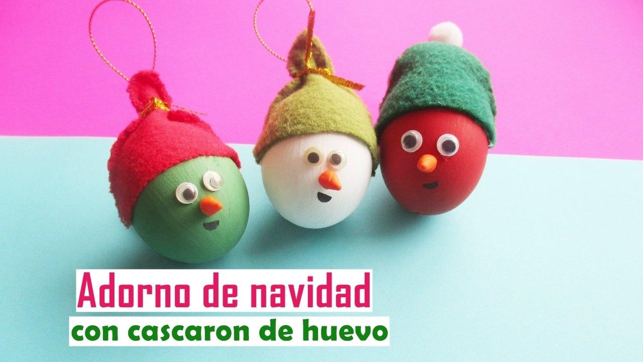 adorno de navidad con cascaron de huevo