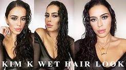 KIM K WET HAIR LOOK TUTORIAL   NAGAM
