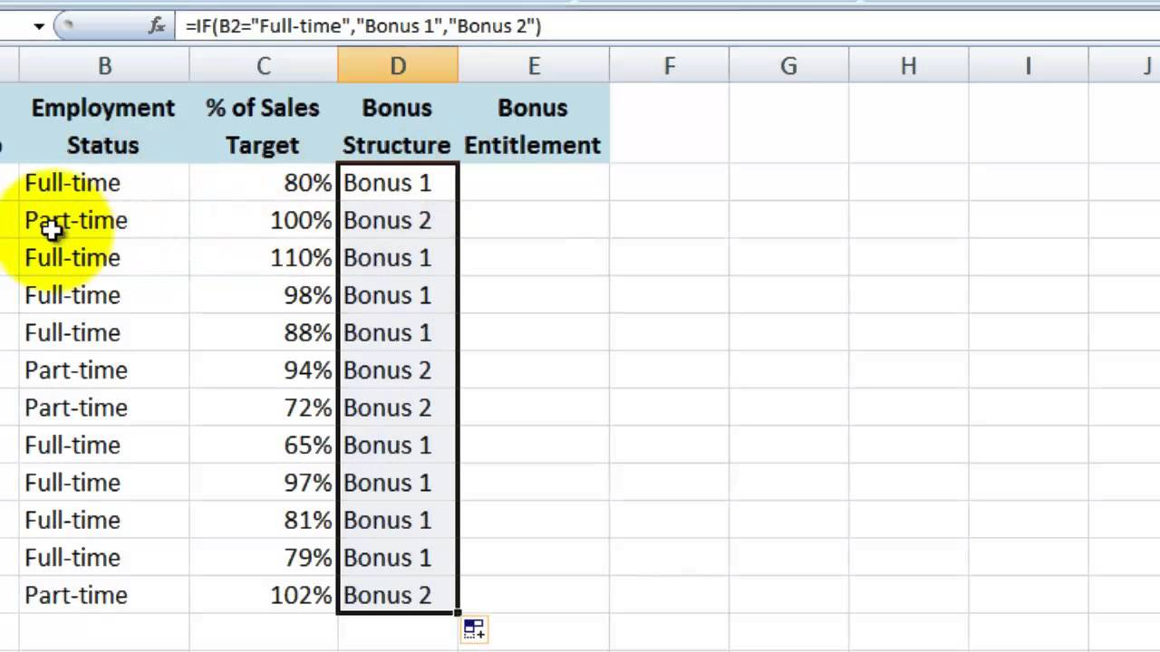 How To Do A Basic IF THEN Statement In Excel 2007