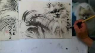 Portraying A Pomeranian Dog In Sumi-e - A Custom Pet Portait By Henry Li