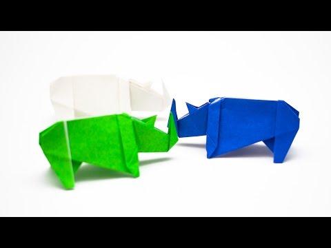 การพับกระดาษเป็นรูปแรด (Origami Rhino)