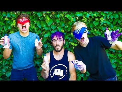 BLINDFOLDED HAIR DYE CHALLENGE! w/ Sam & Colby