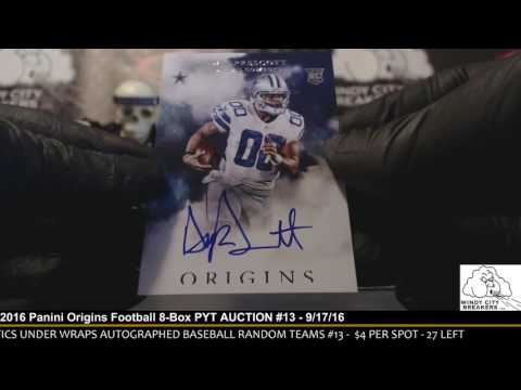 2016 Panini Origins Football 8-Box PYT AUCTION #13 - 9/17/16