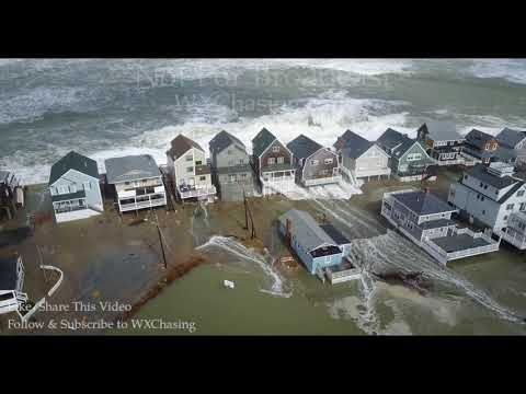 3-3-2018 Scituate, Ma Incredible drone footage waves crashing over homes, extensive coastal flooding