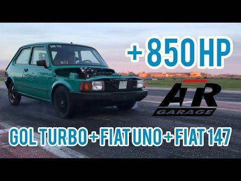 +850 HP PROBANDO EN EL AUTODROMO GOL TURBO + FIAT UNO + FIAT 147  ATR GARAGE
