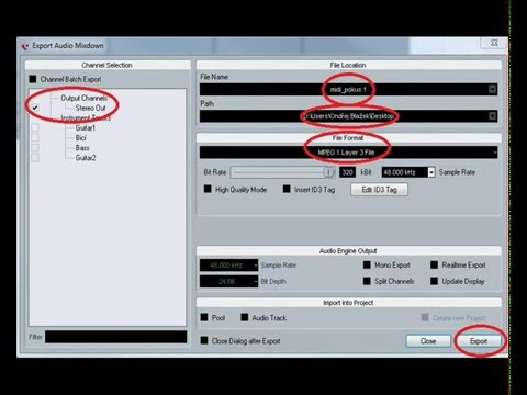 How to convert MIDI to mp3 with Cubase software
