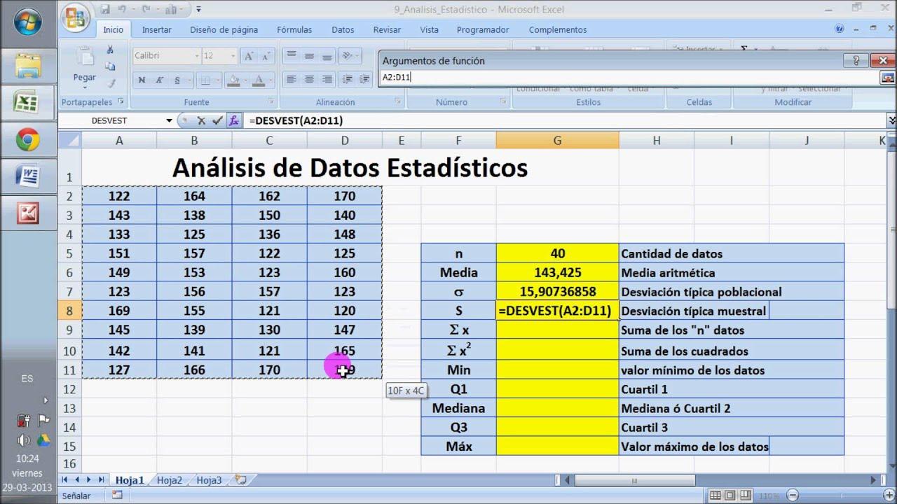 Análisis de Datos Estadístico en Excel - YouTube