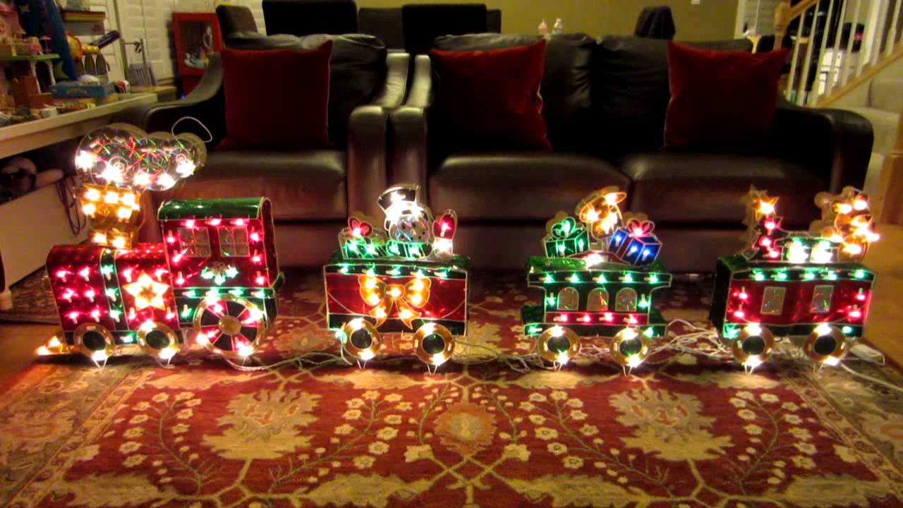 3d holographic train christmas holiday decoration w variable speed chasing lights youtube - Christmas Train Decoration