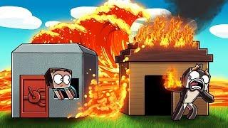 Minecraft | LAVA TSUNAMI BASE CHALLENGE - Lava Burns Everything! (Base vs Tsunami)