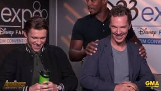 Anthony Mackie Crashes Tom Holland & Benedict Cumberbatch's Avengers Infinity War Interview