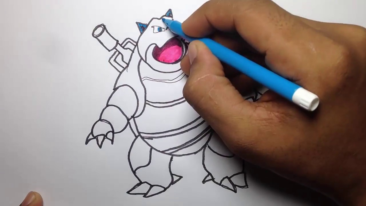 How to Draw Blastoise easy & color by ColorHand - YouTube