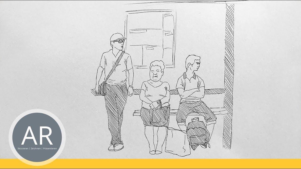 Comic zeichnen, Menschen Skizzen. Unterwegs skizzieren. Menschen ...