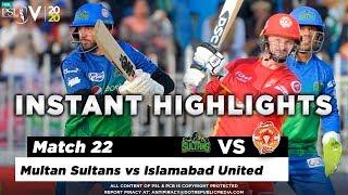 Multan Sultans vs Islamabad United | Full Match Instant Highlights | Match 22 | 8 March | HBL PSL 5