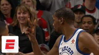Kevin Durant blows kiss, flashes peace sign at ejected Blazers fan | ESPN