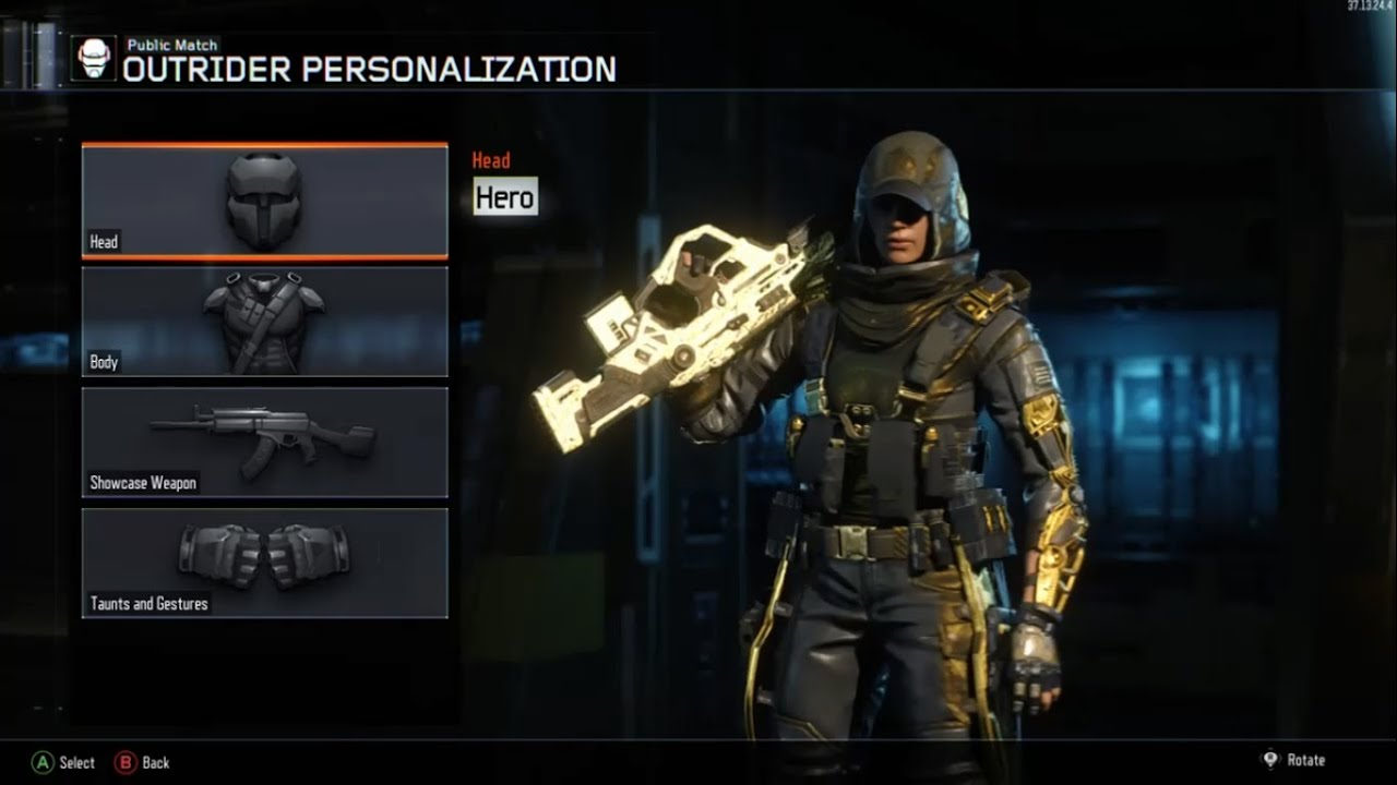 OUTRIDER Gold HERO Armor GAMEPLAY Black Ops 3