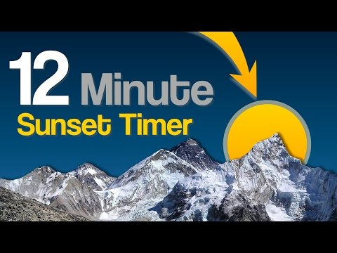 12 Min Countdown Timer With Mountain & Sunset Background And Bell Finish