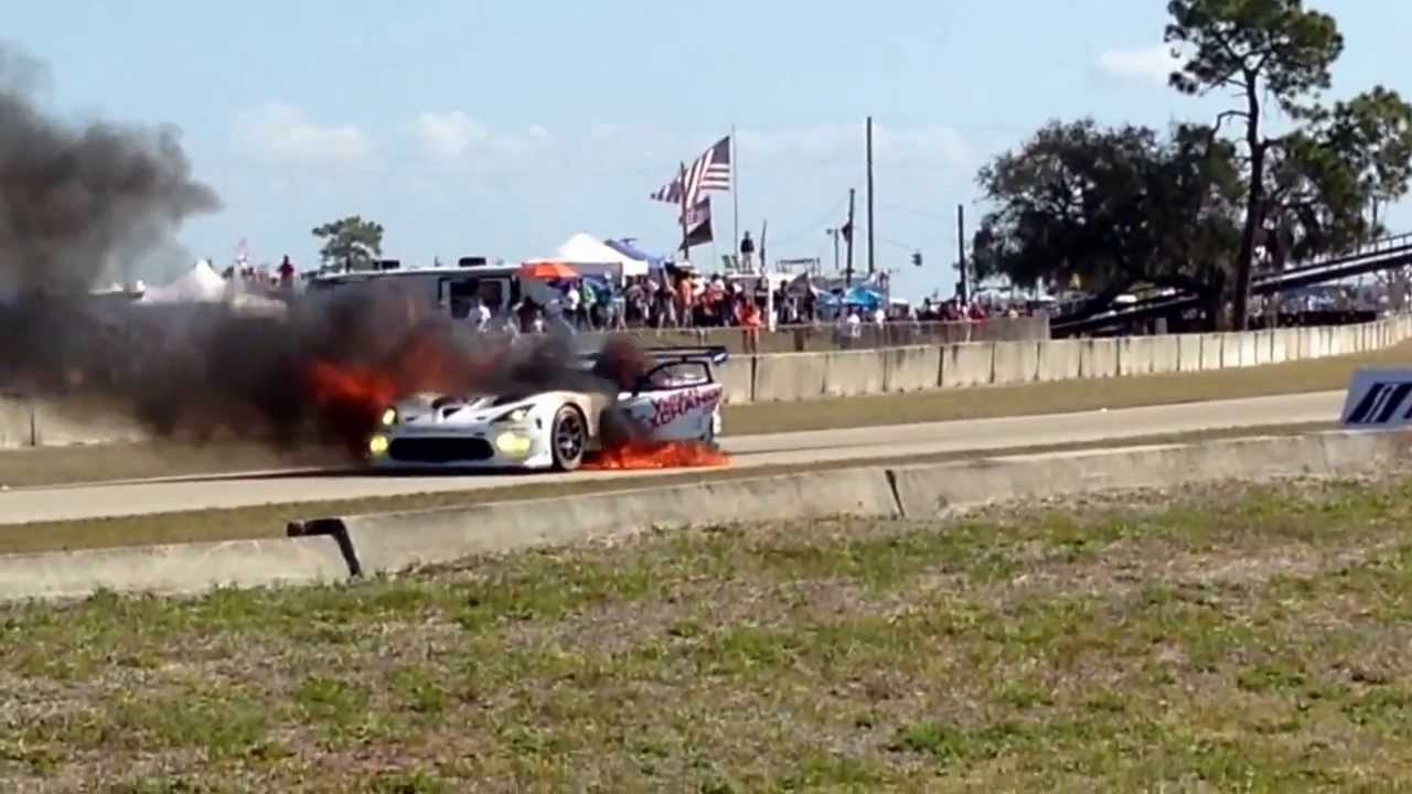12 Hours Of Sebring Dodge Viper SRT Catching Fire
