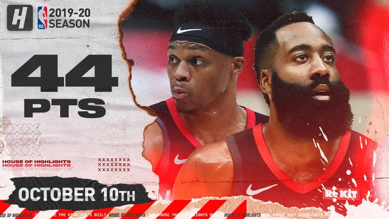 Russell Westbrook James Harden Epic Full Highlights Vs Raptors 2019 10 10 44 Pts Combined