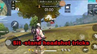 Freefire || Sit - Stand  Headshot  tricks || squad rush  ranked game play || 3800 points || TopTips