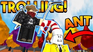 TROLLING A FAMOUS ROBLOX YOUTUBER AUF SUPER POWER TRAINING SIMULATOR! (ROBLOX)