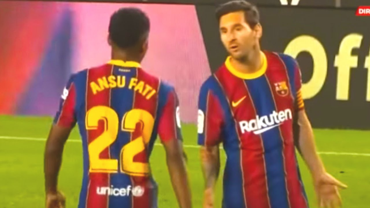 Look WHAT HAPPENED between MESSI and ANSU FATI during BARCELONA - VILLARREAL match!