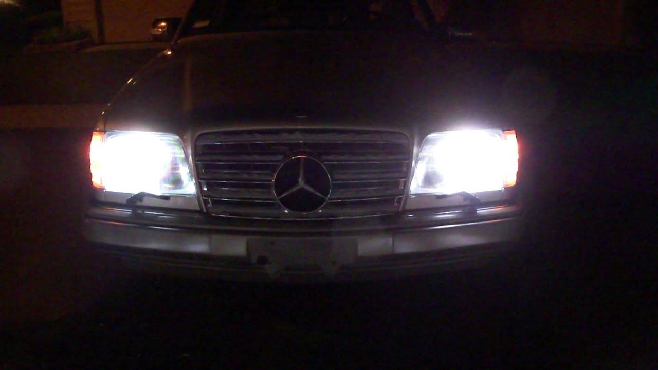 1995 mercedes benz e320 w124 bi xenon headlights youtube for Mercedes benz xenon headlights