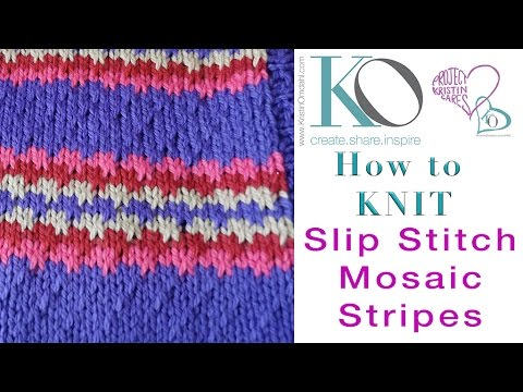 How To Knit Slip Stitch Mosaic Stripes Youtube