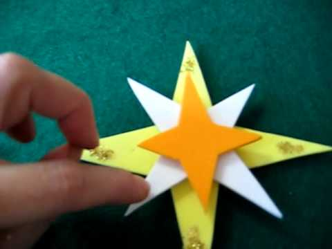 Christmas. Arts And Crafts Activity: Pop Up Stars Decorations Made From  Color Paper Or Foamies.