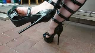 Repeat youtube video Sexy feet in platform stiletto bondage strap high heels