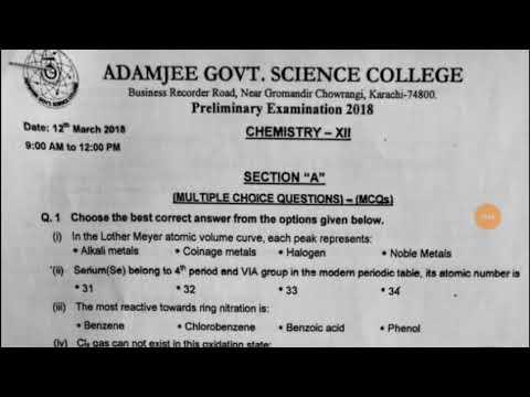 Prelium Paper of XII Chemistry Adamjee Science College 2018