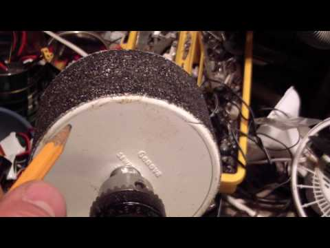 """DIY 3 1/2"""" Sanding Drum made from PVC drain pipe cap, a Bolt and Emery Paper"""
