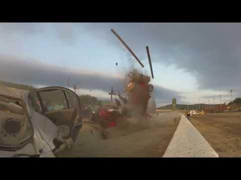 Car jump and crash landing, Lebanon Valley Speedway 6/14'