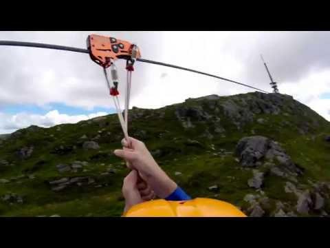 This is Norway's fastest Zipline. Ulriken 2016