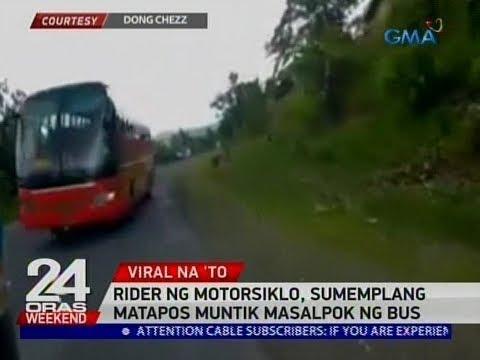24 Oras: Rider ng motorsiklo, sumemplang matapos muntik masalpok ng bus