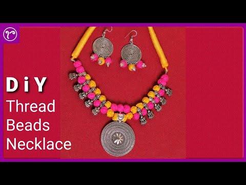 DIY Cotton Thread Beads Necklace with Kolhapuri Beads | Handmade Jewellery Making