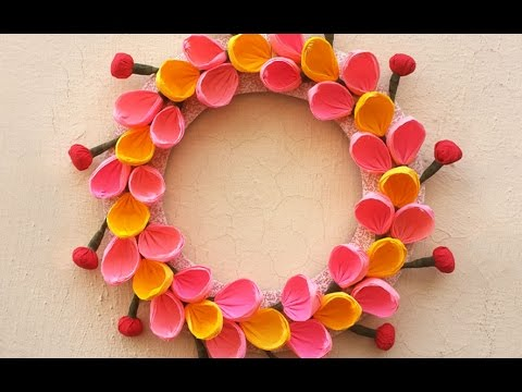 DIY Christmas Wall Decoration Ideas : How To Make Christmas Paper Wreath |  DIY Room Decoration Ideas   YouTube