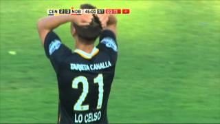 Lo Celso al palo. Central 2 - Newell's 0. Fecha 2. Primera División 2015.