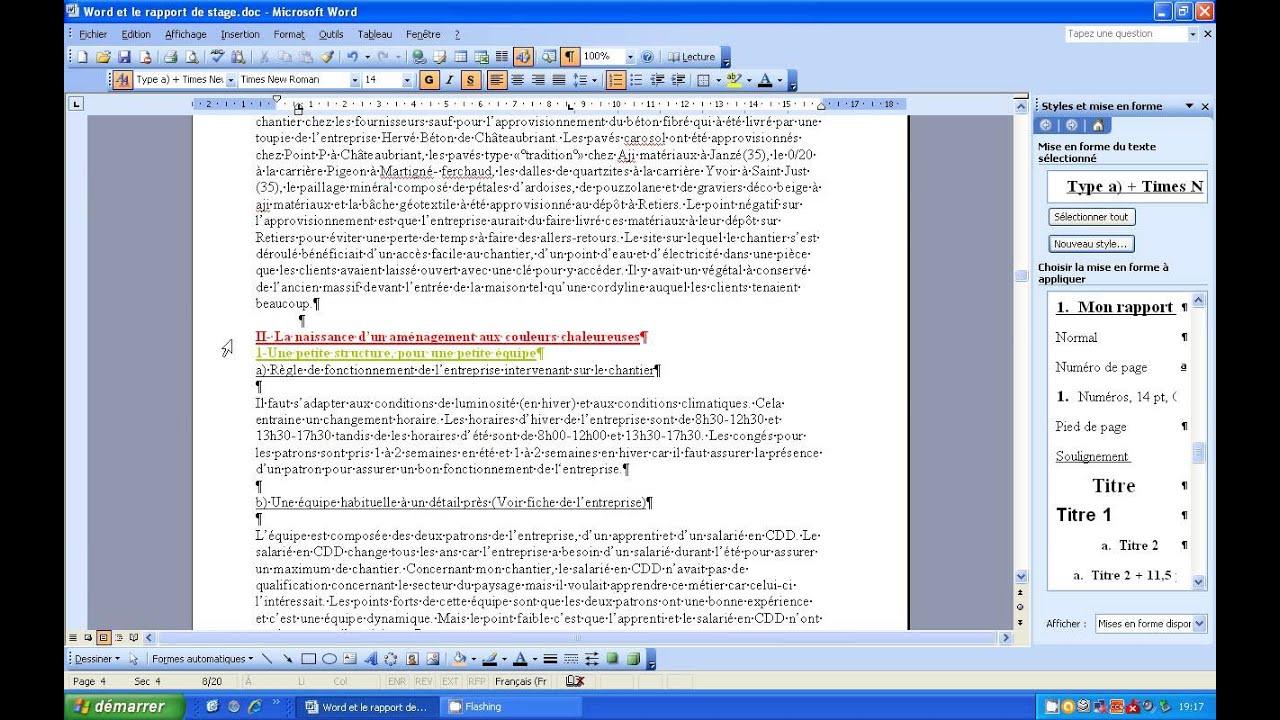 Word Et Rapport De Stage Le Sommaire Partie 3 Youtube