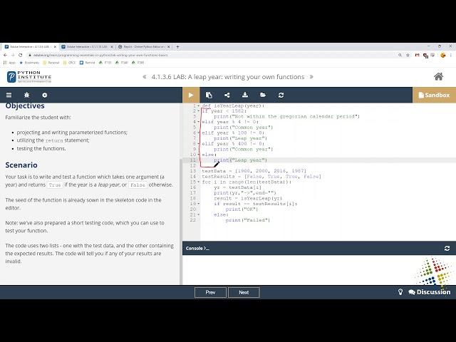 Python Institute lab 4.1.3.6