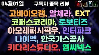 04월01일 구독자 보유종목 코퍼스코리아 외 10종목 …