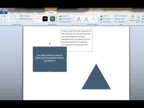 how to add text to different Shapes in Ms Word 2010