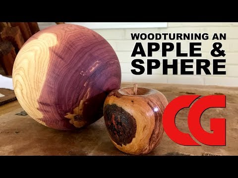 Woodturning an Apple & Sphere - Woodworking