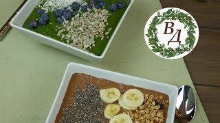 Любимые Рецепты Смузи Боул Веганской Домохозяйки (Зеленый и Шоколадно-Арахисовый!)