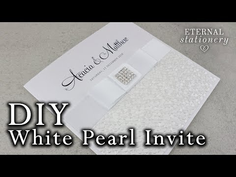 White Pearl Embossed Wedding Invitation tutorial DIY Wedding