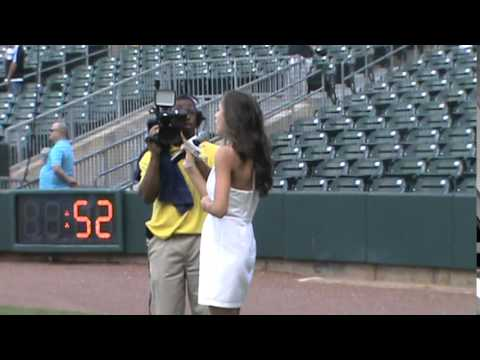 "Camilla Tutt sings ""National Anthem"" at the Biscuits' Game 2015"