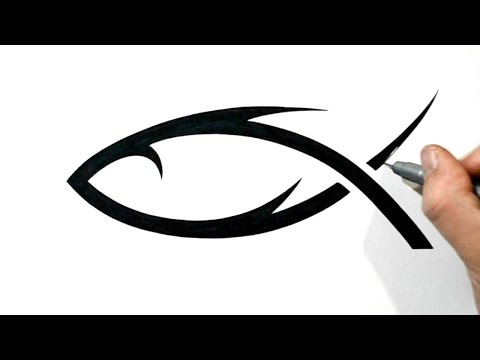 How To Draw A Christian Jesus Fish Symbol - Tribal Style