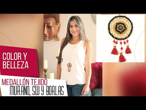 Como adornar medallón tejido murano con Swarovski y borlas Kit 26642 | VARIEDADES CAROL