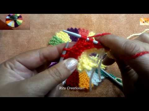 Mat / Table cloth Multicolor in knitting using leftover wool Hindi tutorial