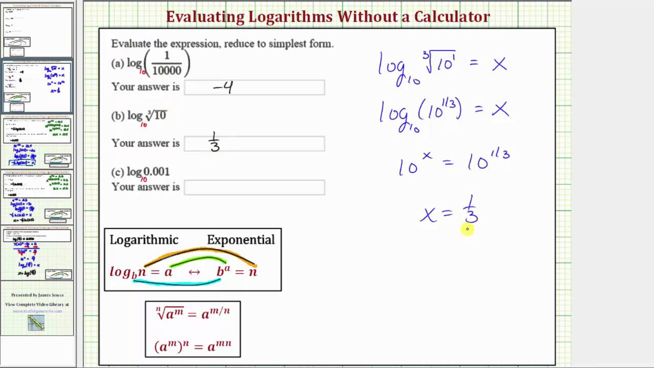 Ex Evaluate Logarithmic Expressions Without A Calculator